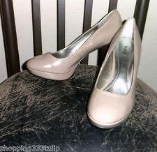 """Style & Co. """"Ursula"""" Light Brown Patent Faux Leather Sz 7.5M Platform Pump Heels"""