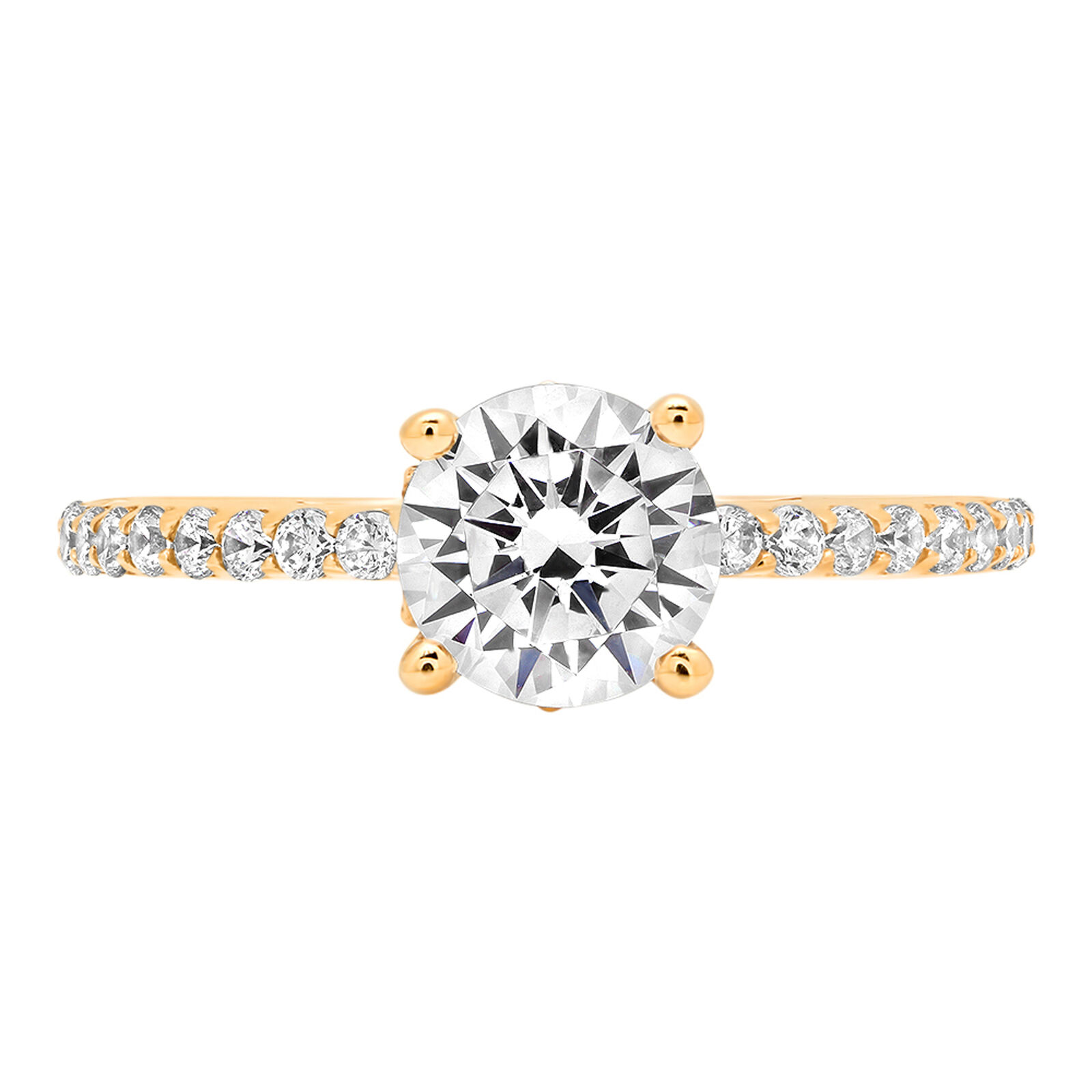 1.54ct Round Cut Classic Engagement Bridal Accent Solitaire Ring 14k Yellow gold