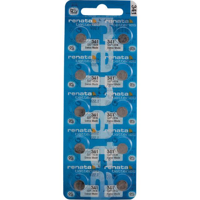 10 x Renata 341 Watch Batteries, 0% MERCURY equivalent SR714SW, Swiss Made