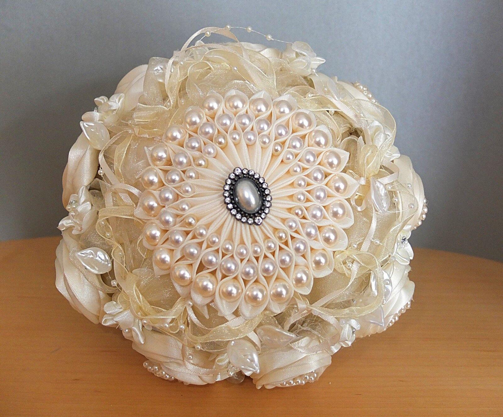 Handgemachter Blaumenstrauß Brautstrauß natur champagner Tüll Perlen Hochzeit    Für Ihre Wahl    Angemessener Preis    Bekannt für seine schöne Qualität