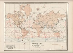 1897 VICTORIAN MAP ~ THE WORLD ~ ISOBARIC LINES & PREVAILING WINDS ...