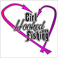 Girl Hooked On Fishing Car Truck Fish Female Pink Laptop Funny Decal Sticker