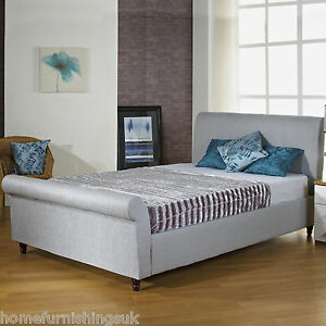 pretty nice 72a8d 0881b Details about FABRIC UPHOLSTERED 4FT SMALL DOUBLE SLEIGH BED + MEMORY  FOAM/ORTHO MATTRESS