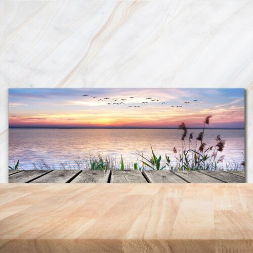 Küchenrückwand Spritzschutz aus Glas 125x50 Landschaften See Sonnenuntergang