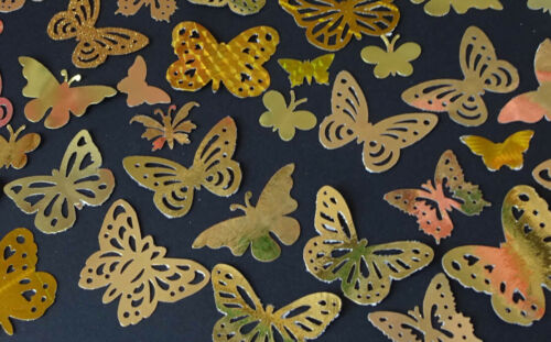 Gold or Silver decorative butterflies.Wedding confetti Cardmaking  Pack of 50.