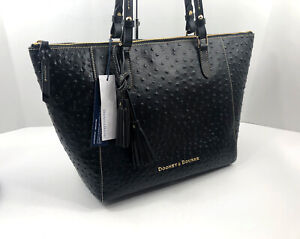 Dooney-amp-Bourke-Large-Maxine-Tote-Purse-BLACK-Pebbled-Leather-Bag-Shopper-328