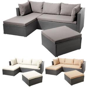 Poly Rattan Garnitur Alu Gestell Gartenlounge Lounge Sofa