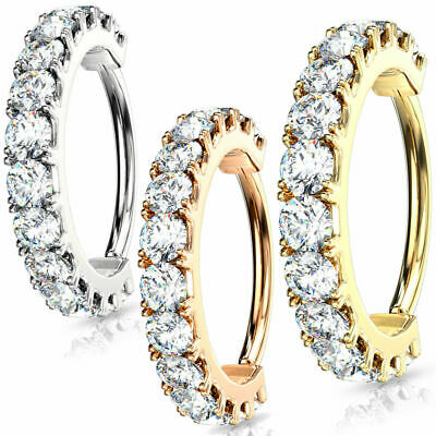 Size 16 Gauge and Rose Gold Gem Hoop Nose Lip Cartilage Earrings Helix Daith Rook Tragus Orbital Conch Rings 1.2mm 3 Pcs Silver Gold