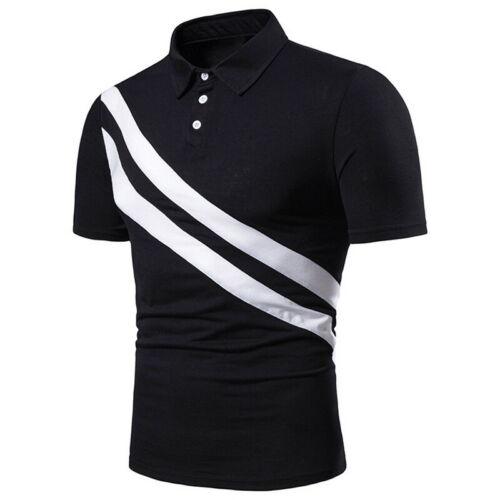 Shirt Mens Fashion  Short Sleeve Stripe Color Matching Basic Casual Lapel  T