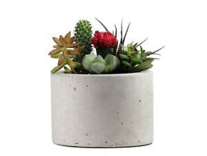 Round-Concrete-Planter-8-034-Flower-Pot-Handmade-Home-amp-Garden-Decor-Natural-Gray