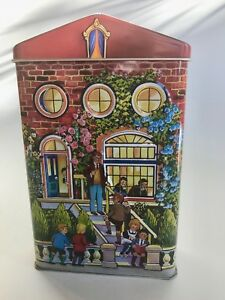 Hershey-039-s-Village-Series-Canister-2-School-House-Embossed-Collector-England-Red