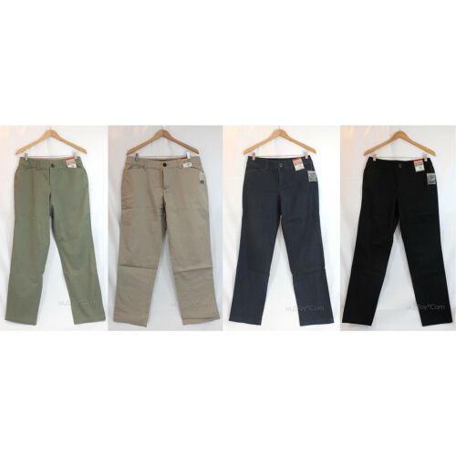 NEW Khakis /& Co Women Straight Leg Tummy Slimming Pants Stretch /& Slim Pant