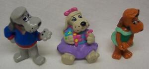 Tonka VINTAGE Pound Puppies 3 Plastic PVC Toy Figures COOLER & NOSE MARIE
