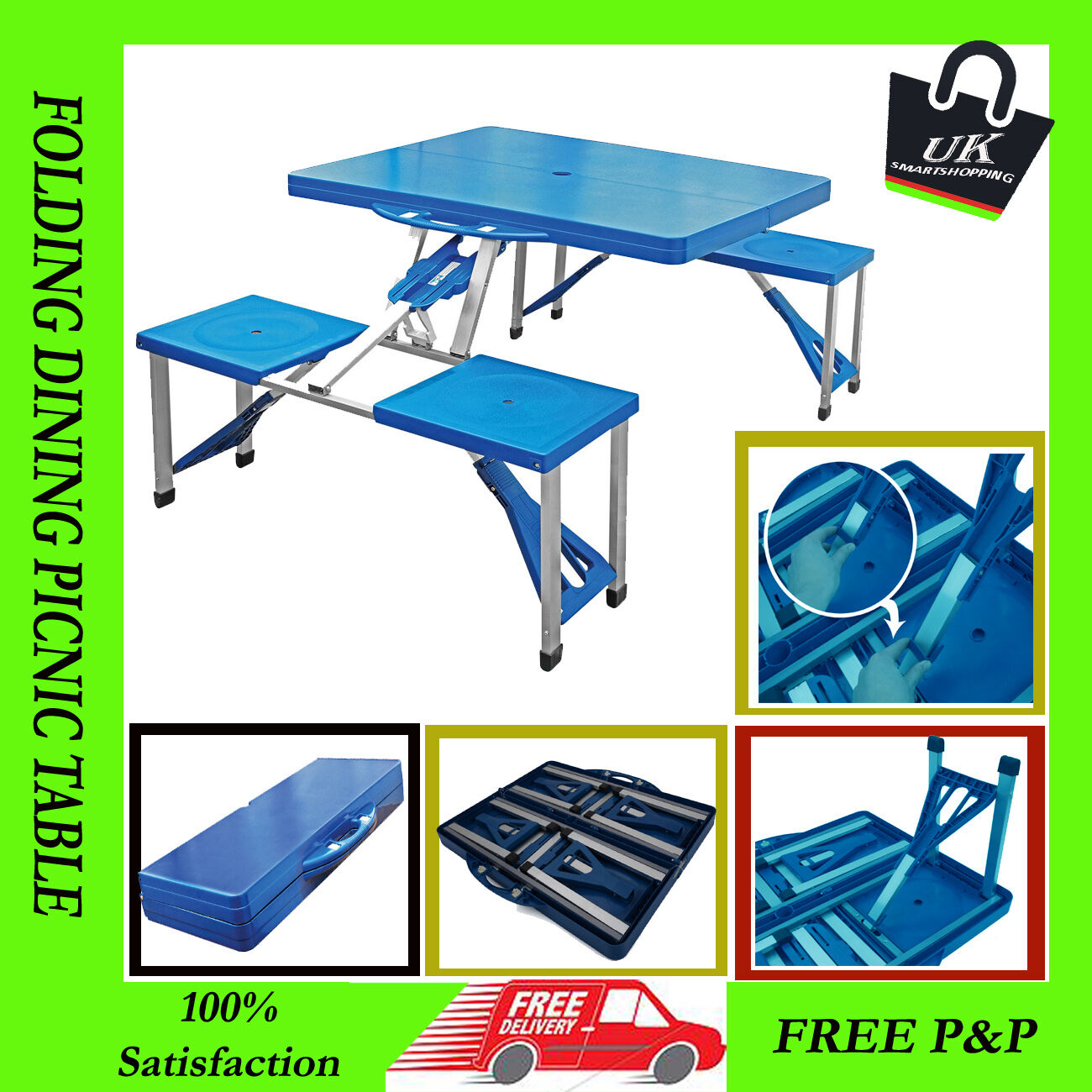 NEW Portable Folding Camping Picnic Outdoor BBQ Dining Picnic Table Chairs Set