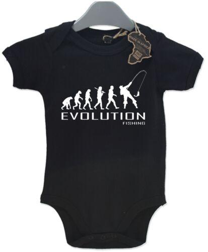 Evolution Fishing Baby Grow Unisex Babies Playsuit Fish Fisherman Baby
