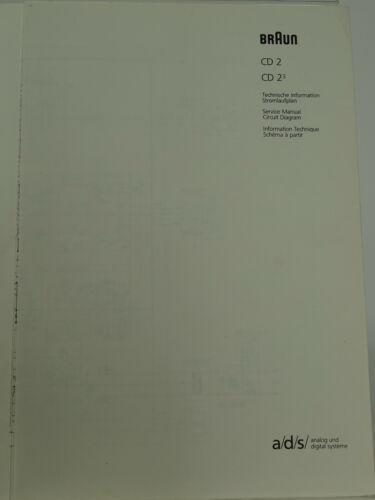 Stromlaufplan Braun Atelier HiFi CD2//CD2³ CD Player Technische Information