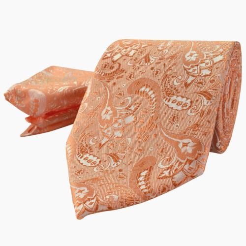 Luxury Peach Orange Mens Tie Handkerchief Set Silk Floral Pocket Square Hanky