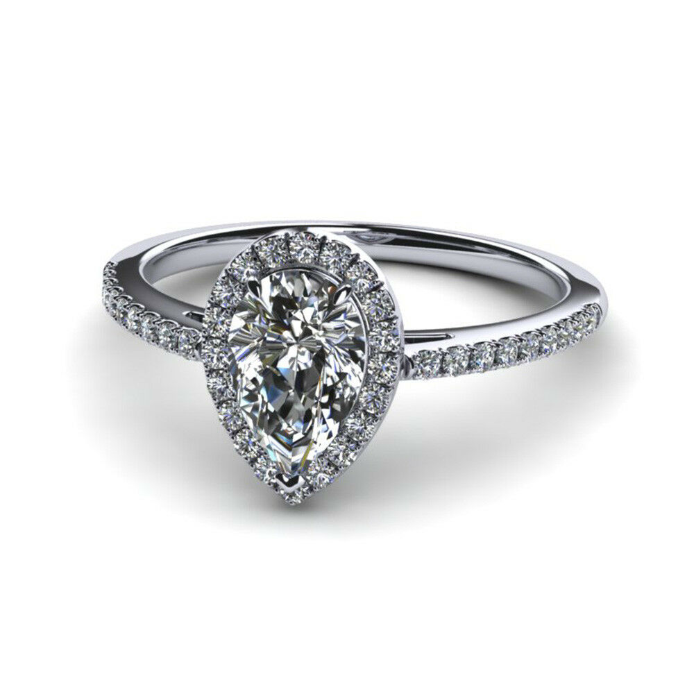 Real Pear Cut 0.70Ct VS1 Diamond Engagement Ring 14K White gold Size 7