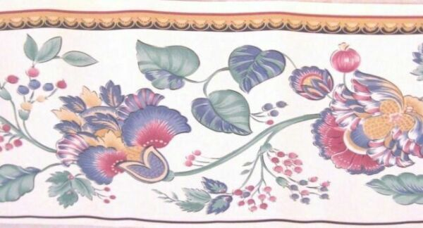 Fruit Bowl Tulip Flower Vase Floral Kitchen Plate Blue Plaid Wall paper Border