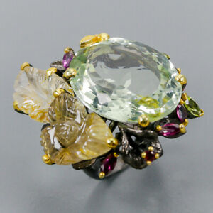 Green Amethyst Ring Silver 925 Sterling 33 ct+ IF AAA Design Size 8.5 /R140622