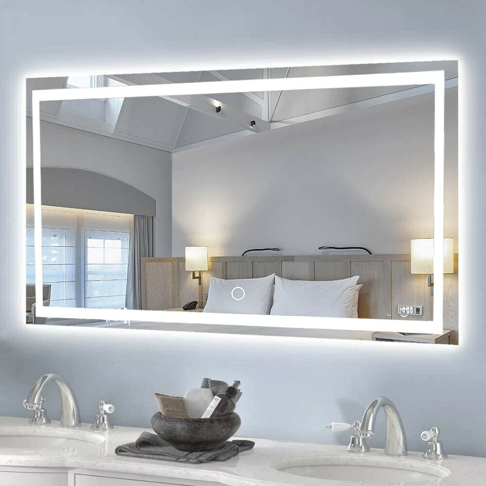 Bathroom Mirror LED Illuminated Wall Mirror Touch Switch LED Clock Heating Mat onlooker