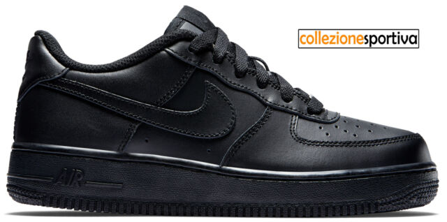 SCARPE UOMODONNA NIKE AIR FORCE 1 ONE LOW (GS) 314192 009 col. neronero