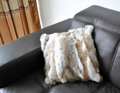 Grace Sofa Pillow Cushion Case Cover Farm Rabbit Fur Genuine Home Decorative