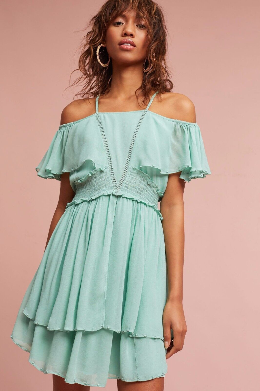 NWT SZ XL Elisa Ruffled Open-Shoulder Open-Shoulder Open-Shoulder Dress By Maeve Mint f7758a