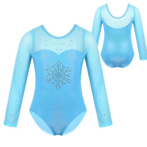 Mädchen Schneeflocke Tanz-Body Langarm Ballettanzug Gymnastikanzug Turnanzug
