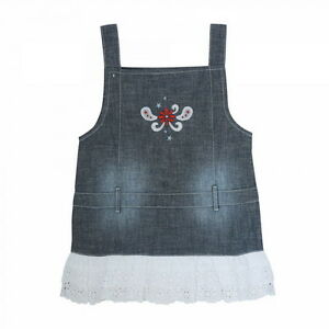 399b7877871e WRANGLER Girls Baby Denim Blue Jean Ruffle Lace Western Tank Dress ...