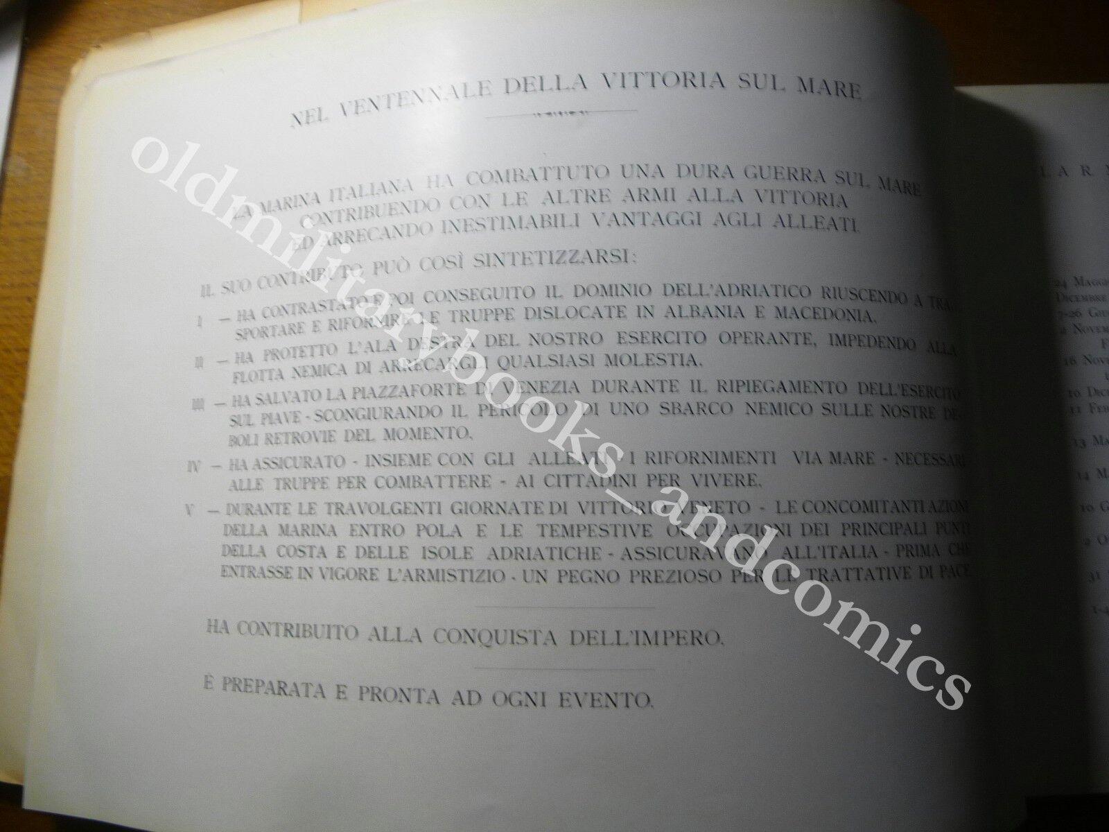 LA R. MARINA DALLA VITTORIA ALL'IMPERO VENTENNALE 1918-1938 CELEBRAZIONE 20 ANNI