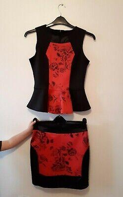 Vendita Calda Da Donna Top Nero & Rosso & Skirt Co-ord Set Size 12-mostra Il Titolo Originale Buona Conservazione Del Calore