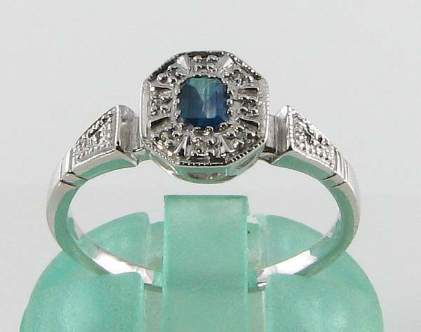 CLASSIC 9CT WHITE gold blueE SAPPHIRE & DIAMOND ART DECO INS RING FREE RESIZE