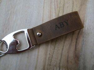 personalized bottle opener keychains engraved leather keychain custom key fob. Black Bedroom Furniture Sets. Home Design Ideas