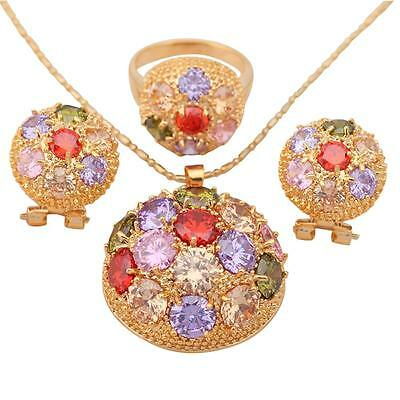 JS354 #9 Fashion jewelry Crystal set 18k gold Filled Earring Necklace Ring