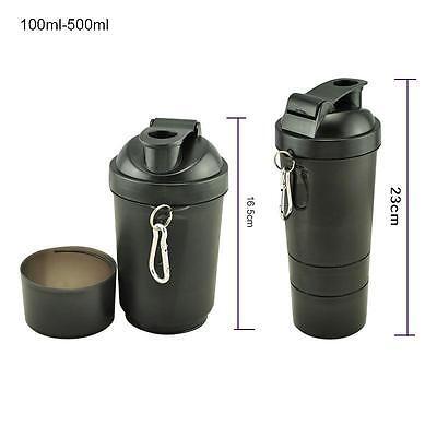 Portable Protein Shaker Three layers Blender Mixer BLACK BOTTLE 500-600ML Assemb