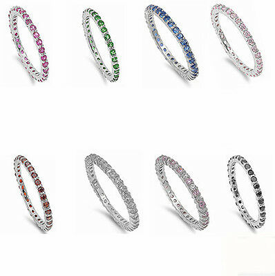 Beautiful Stackable Eternity Anniversary Band .925 Sterling Silver All Size 2-12