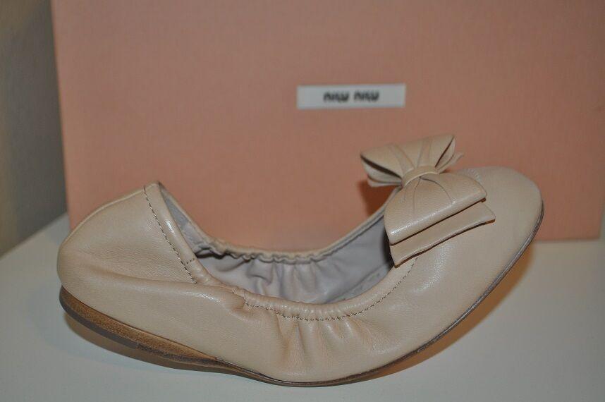 NIB Miu Miu Miu Miu By Prada BOW Ballet Flat shoes Beige Leather Scrunch 35.5 - 5.5 Nude c2f051