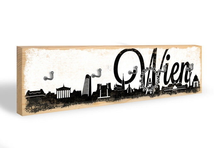 Holz Schlüsselbrett Wiener Skyline + 5 Haken schwarz weiß
