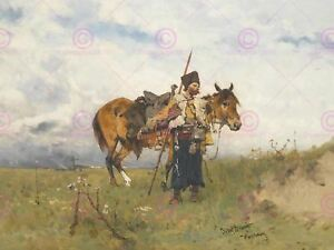 Painting Military Brandt Cossack Watchman Art Picture Canvas Art Print