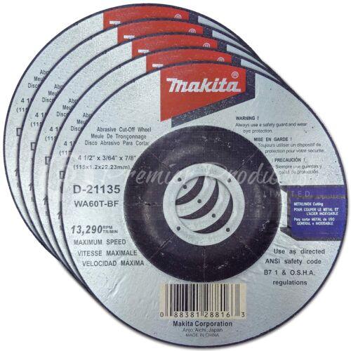 "Makita 5 Pack 4.5/"" Cut Off Wheels For 4.5/"" Grinders On Stainless Steel"