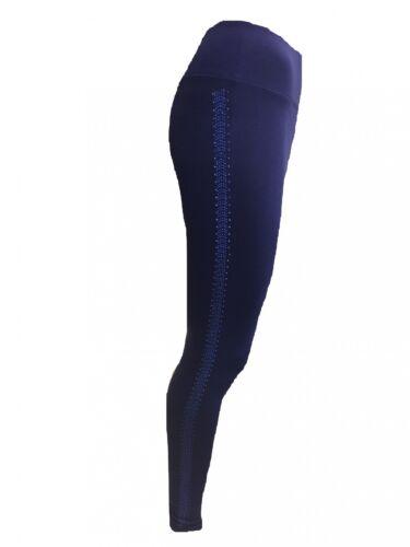 Mandala Yoga Tights Sport Leggings Sporthose Pailletten Streifen Blau Gr XS