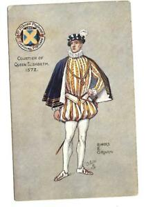 St-Albans-PAGEANT-Picture-postcard-ROBERT-E-GROVES-COURTIER-QUEEN-ELIZABETH-1572