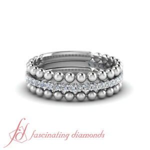Beaded-Stackable-Band-Rings-For-Female-0-30-Carat-Round-Cut-Diamond-In-Platinum