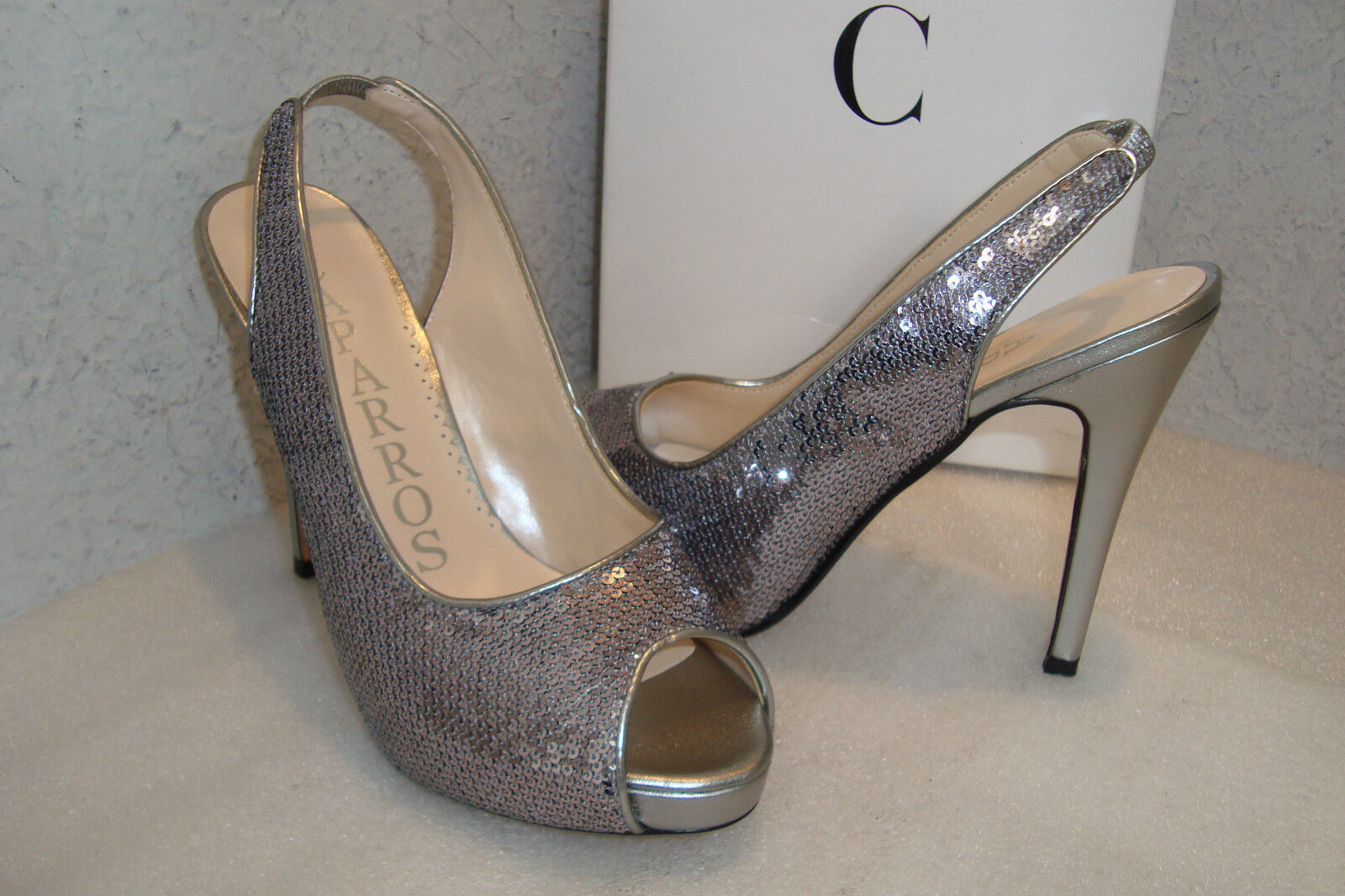 Caparros Womens NWB Channing Sequin Silver Sling Back Heels Shoes 6.5 MED NEW