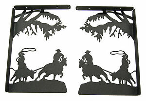 Team-Roping-Steer-Black-Metal-Shelf-Bracket-Set-Western-Rodeo