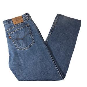Mens-Vintage-36S-Levi-s-615-Jeans-W36-L28-Orange-Tab-Straight-Leg-Blue