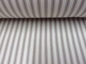 Image Is Loading Falmouth Herringbone Ticking Stripe Herb Beige Cotton Upholstery