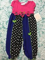 Bonnie Baby Baby Girl's 1 Piece Romper Dot Party Pants Color Fuc Size 6-9 Months