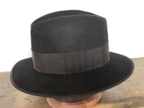 1930's  1940's VINTAGE Black Fedora Hat SZ-7-1-2 A